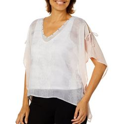 Hearts of Palm Petite Blush Hour Medallion Print Poncho Top