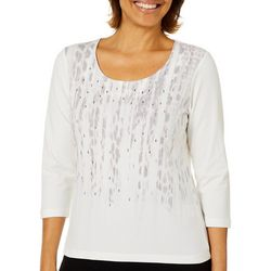 Hearts of Palm Petite Blush Hour Embellished Abstract Top