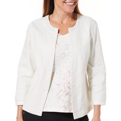 Hearts of Palm Petite Blush Hour Embellished Metallic Jacket