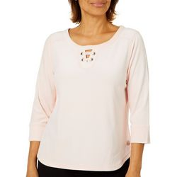 Hearts of Palm Petite Blush Hour Solid Velour Lace Up Top