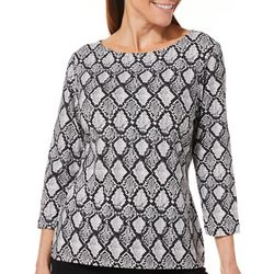 Hearts of Palm Petite Must Haves Geometric Snake Print Top