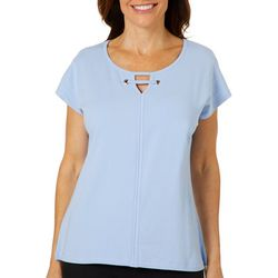 Hearts of Palm Petite Natural Wonders Solid Keyhole Neck Top