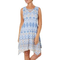Hearts of Palm Petite Natural Wonders Ikat Print Dress