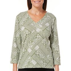 Hearts of Palm Petite Must Haves III Geometric Faux Wrap Top