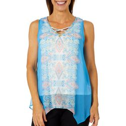 Hearts of Palm Petite Azure Thing Paisley Sharkbite Top