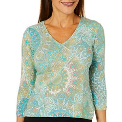 Hearts of Palm Petite Printed Essentials Paisley Top