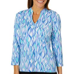 Hearts of Palm Petite Always Blooming Jeweled Neck Top