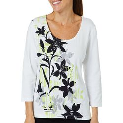 Hearts of Palm Petite Drop Me A Lime Jeweled Floral Top