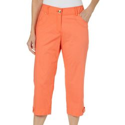 Hearts of Palm Petite Sun In Sight Solid Twill Capris