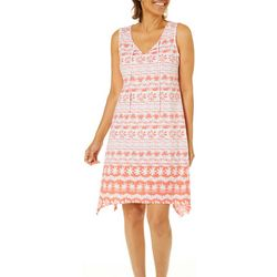 Hearts of Palm Petite Sun In Sight Geo Print Tie Neck Dress