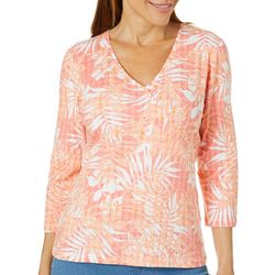 Hearts of Palm Petite Must Haves III Tropical Faux Wrap Top