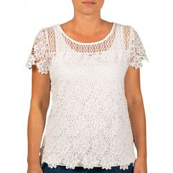 Hearts of Palm Petite Stars and Stripes Lace Top