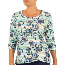 Hearts of Palm Petite Floral Stripe Tulip Hem Top