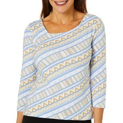Hearts of Palm Petite Printed Essentials Asymmetric Neck Top