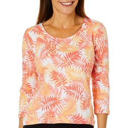 Hearts of Palm Petite Printed Essentials Palm Breeze Top