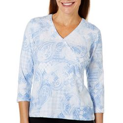 Hearts of Palm Petite Natural Wonder Vintage Paisley Top