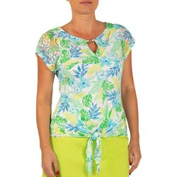 Hearts of Palm Petite Essentials Tropical Leaf Tie Front Top