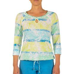 Hearts of Palm Petite Color Binge Palm Print Tie Front Top