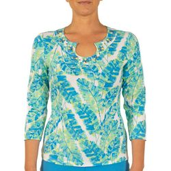 Hearts of Palm Petites Essentials Tropical Leaf Print Top
