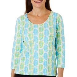 Hearts of Palm Petite Printed Essentials Ombre Fern Top