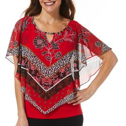Hearts of Palm Petite Mixed Floral Poncho Top