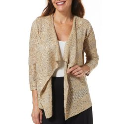 Hearts of Palm Petite Rue De La Rue Solid Sequin Cardigan