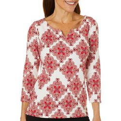 Hearts of Palm Petite Must Haves Medallion Tile Print Top