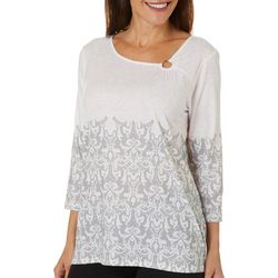 Hearts of Palm Petite Steeling The Scene Damask Print Top