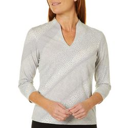 Hearts Of Palm Petite Ombre Animal Print Funnel Neck Top