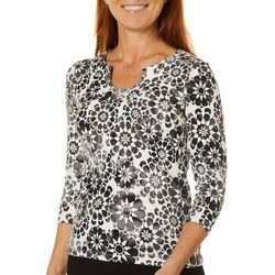 Hearts of Palm Petite Printed Essentials Geo Print Top