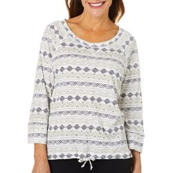 Hearts of Palm Petite Off Tropic Tribal Pull Over Top