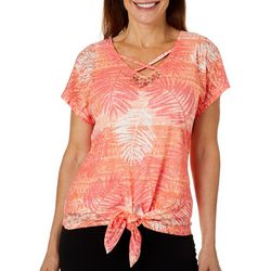 Hearts of Palm Petite Off Tropic Palm Print Tie Front Top