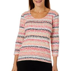 Hearts of Palm Petite Off Tropic Pebble Stripe Top