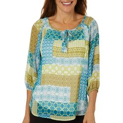 Hearts of Palm Petite Global Soul Patchwork Top