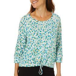 Hearts of Palm Petite Global Soul Mixed Print Tie Front Top