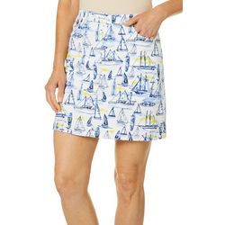 Hearts of Palm Petite Seas The Day Sailboat Print Skort