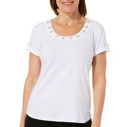 Hearts of Palm Petites Seas The Day Embellished Solid Top