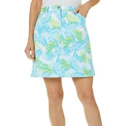 Hearts of Palm Petite Spring Bling Tropical Leaf Print Skort