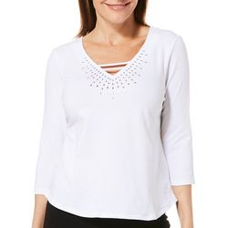 Hearts of Palm Petite Spring Bling Jeweled V-Neck Top