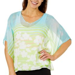 Hearts of Palm Petite Spring Bling Floral Striped Poncho Top