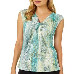 Nue Options Petite Snake Skin Print Twist Neck Top