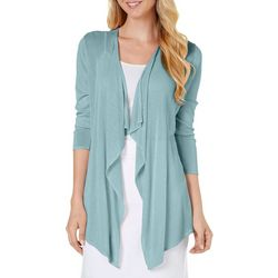 Nue Options Petite Solid Drape Front Cardigan