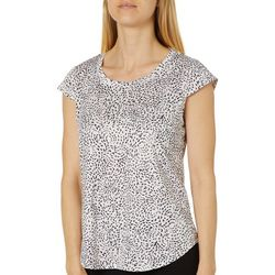Nue Options Petite Dotted Swirls Day To Night Cap Sleeve Top