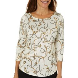 Nue Options Womens Chain Print Elbow Sleeve Top