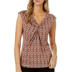 Nue Options Petite Medallion Print V-Neck Sleeveless Top