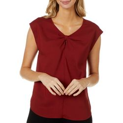 Nue Options Petite Solid Twist V-Neck Sleeveless Top