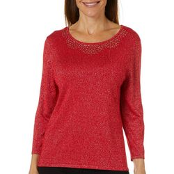 Nue Options Petite Embellished Glitz Round Neck Top
