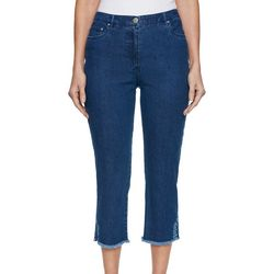 Ruby Road Favorites Petite Embroidered Frey Hem Denim Capris
