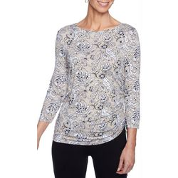 Ruby Road Favorites Petite Floral Print Ruched Side Top