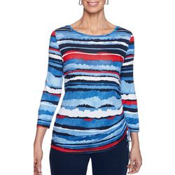 Ruby Road Favorites Petite Striped Print Ruched Side Top